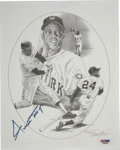 """Autographs:Letters, Willie Mays Signed Lithograph. The 8x10"""" black and white lithographis signed Willie Mays and the artist. Numbered 712/750,..."""