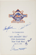 "Autographs:Others, Mets 25th Anniversary Program Signed by Seaver, Kiner, Berra andMays. Brilliant 8.5 x 13"" program can be unfolded to reveal..."