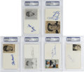 """Autographs:Index Cards, Hall of Fame Single Signed Index Cards PSA Authentic Lot of 6. Six 3x5"""" index cards signed by members of the baseball Hall ..."""