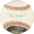 Autographs:Baseballs, Stan Musial Single Signed Baseball with Hand-Drawn Art. Perhaps themost-beloved man in the St. Louis Cardinal franchise's ...