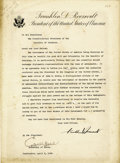 Autographs:U.S. Presidents, Franklin D. Roosevelt Typed Letter of State Signed...