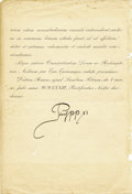 Autographs:Non-American, Pope Pius XI Document Signed,...