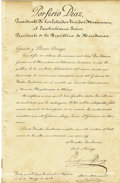 Autographs:Non-American, Porfirio Díaz, President of Mexico, Document Signed,...