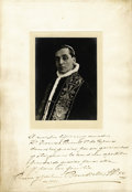 Autographs:Non-American, Pope Benedict XV Photograph Signed,...
