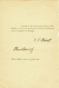Autographs:Non-American, T. G. Masaryk and Edvard BeneŠ, Presidents of Czechoslovakia,Document Signed,...