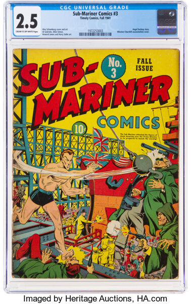 Golden Age (1938-1955):Superhero, Sub-Mariner Comics #3 (Timely, 1941) CGC GD+ 2.5 Cream to off-white pages....