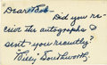 Autographs:Index Cards, Billy Southworth Signed Index Card. Newly elected member of the Baseball Hall of Fame Billy Southworth was best-remembered ...