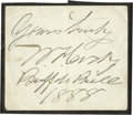 Autographs:Celebrities, William F. Cody [Buffalo Bill] Autograph Double Signed...