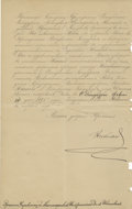 Autographs:Non-American, Tsar Nicholas II of Russia Document Signed....