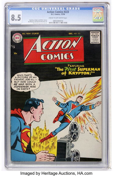 Action Comics #223 (DC, 1956) CGC VF+ 8.5 Cream to off-white pages....