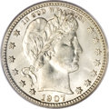 Barber Quarters, 1907-S 25C MS65 PCGS....