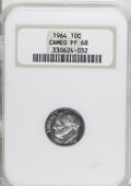 Proof Roosevelt Dimes, 1964 10C PR68 Cameo NGC. NGC Census: (778/481). PCGS Population(517/760). Mintage: 3,950,762. Numismedia Wsl. Price for NG...