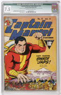 Golden Age (1938-1955):Superhero, Captain Marvel Adventures #14 (Fawcett, 1942) CGC Qualified VF- 7.5 Off-white to white pages....