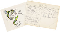 Grim Natwick. Handwritten Note, Signature, and Mickey Mouse Sketch. One page, oblong octavo, n.p., December 18, 1965