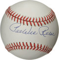 Autographs:Baseballs, Pee Wee Reese Single Signed Baseball. The Dodgers perennialAll-Star shortstop and buddy of Jackie Robinson offers a superb...