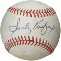 Autographs:Baseballs, Sandy Koufax Single Signed Baseball. High-quality signature fromthe Hall of Fame lefty ace. Scattered areas of foxing affec...