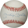 Autographs:Baseballs, Mickey Mantle Single Signed Baseball. While the OAL (Brown)baseball we see here has begun to display a light, yet even cre...