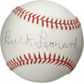 Autographs:Baseballs, Buck Leonard Single Signed Baseball. Pristine OAL (Brown) baseballoffered here sports a superb example of the negro league...