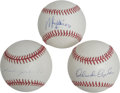 Autographs:Baseballs, Vintage Baseball Stars Single Signed Baseballs Lot of 3. Each ofthese baseball contemporaries from 1960s fame has provided...
