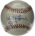 Autographs:Baseballs, Whitey Ford Single Signed Baseball. The Yankees postseason aceWhitey Ford has penned a neat blue ink signature to the OAL ...