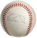 Autographs:Baseballs, Barry Bonds Single Signed Baseball. All eyes will be on Bonds thisspring as he approaches status as baseball's home Run ki...