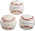 Autographs:Baseballs, Major League Stars Single Signed Baseballs Lot of 3. Three sweetspot singles, all on official baseballs, appear here court...