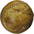 Autographs:Baseballs, 1925 Herb Pennock & Aaron Ward Signed Baseball. With Pennocksingles surfacing with about the same frequency of Halley's Co...