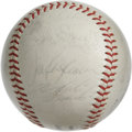 Autographs:Baseballs, 1965 Pittsburgh Pirates Team Signed Baseball. At the age of 48manager Harry Walker took the reign of the Pittsburgh Pirate...