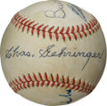 Autographs:Baseballs, Baseball Hall of Famers Multi-Signed Baseball. ONL (Giamatti) orbthat we offer here has been signed by a quartet of player...