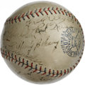 Autographs:Baseballs, 1928 St. Louis Browns Team Signed Baseball. This tremendous exampleputs fourteen signatures from the 1928 St. Louis Browns...