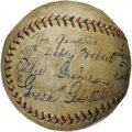 Autographs:Baseballs, 1931 St. Louis Browns Team Signed Baseball. The boldest of GooseGoslin signatures on the side panel of this OAL (Barnard) ...