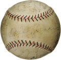 Autographs:Baseballs, 1923 Cleveland Indians Team Signed Baseball. Hall of Fame player/manager Tris Speaker assumes his appropriate sweet spot po...