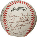 Autographs:Baseballs, 1990's Hall of Famers Multi-Signed Baseball. Unique autographed orb sets itself apart from the pack with the addition of no...