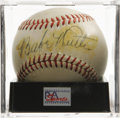 Autographs:Baseballs, 1940's Babe Ruth Single Signed Baseball, PSA NM 7. An enormous and marvelously bold blue fountain pen sweet spot signature ...