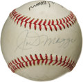 Autographs:Baseballs, 1970's Legendary Sluggers Signed Baseball with DiMaggio, Mantle, Aaron. Believed to have derived from a New York Mets Old T...