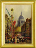 Decorative Arts, Continental:Other , William A. Mac Donald (British, 1861-1948). Coronation of GeorgeV, King of Britain, June 22, 1911. Oil on board, signed...