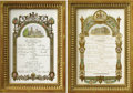 Royal Memorabilia, A Pair of Handwritten Menus from Queen Victoria (r. 1837-1901) .One from Buckingham Palace, dated March 13, 1890, the oth...(Total: 2 Items)