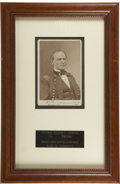 Autographs:Military Figures, William T. Sherman Brady Cabinet Card Signed Three Times....