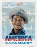 "Autographs:U.S. Presidents, Ronald Reagan Signed ""America Reagan Country"" 1980 CampaignPoster...."