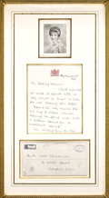 Royal Memorabilia:British, Signed Letter and Envelope from Princess Diana to Her Grandmother.The envelope and letter handwritten on Royal Balmoral C... (Total:2 Items)