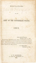 Autographs:Military Figures, General John B. Floyd's Signed Copy of Regulations for the Army of the Confederate States, 1862,...