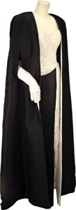 Movie/TV Memorabilia:Costumes, Nolan Miller, Black and White Strapless Gown, Long White Gloves andBlack Silk Evening Cape Designed for Linda Evans for her R...(Total: 1 Item)