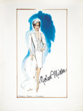 Movie/TV Memorabilia:Original Art, Nolan Miller Watercolor Sketch of Suite for Diahann Carroll for Dynasty. Ca. 1985; Watercolor, gouache, pencil and marke... (Total: 1 Item)