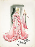 Movie/TV Memorabilia:Original Art, Nolan Miller Watercolor Sketch of Pink Ombre Silk Chiffon Gown andCape Designed for Connie Stevens. Ca. 1980; Watercolor, g...(Total: 1 Item)