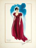 Movie/TV Memorabilia:Original Art, Nolan Miller Watercolor Sketch of a Maroon Negligee and Gown forJoan Collins in Dynasty. Ca. 1984; Watercolor, gouache,...(Total: 1 Item)
