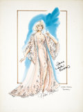 Movie/TV Memorabilia:Original Art, Nolan Miller Watercolor Sketch of a Negligee and Gown For LindaEvans in Dynasty Ca.1985; Watercolor, gouache, pencil an...(Total: 1 Item)