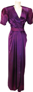 Movie/TV Memorabilia:Costumes, Nolan Miller Design for The Two Mrs. Grenvilles, a Heavy Purple Satin Crepe 1940s Evening Gown Worn by Ann-Margret as ... (Total: 1 Item)