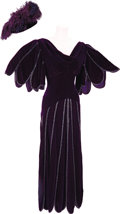 Movie/TV Memorabilia:Costumes, Nolan Miller Designed Purple Velvet Gown and Hat Worn by Elizabeth Taylor in Malice In Wonderland. 1985; Gown: silk velv... (Total: 1 Item)
