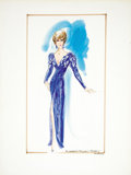 Movie/TV Memorabilia:Original Art, Nolan Miller Watercolor Sketch for Elizabeth Taylor's Academy Award Gown. Ca. 1985; Watercolor, gouache, pencil, and marker ... (Total: 1 Item)