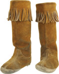 Music Memorabilia:Costumes, Jimi Hendrix Stage-Worn Boots. Among the most important Hendrix artifacts ever to surface, these brown suede fringed boots w... (Total: 1 Item)